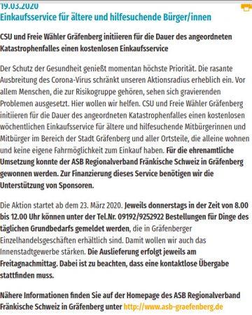 Originalmeldung auf der Homepage der Freien Wähler Gräfenberg